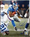 Tiki Barber Giants signed 8x10 photo running the ball STEINER autographed