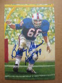 Billy Shaw Bills signed Goal Line Art Postcard PSA/DNA auto HOF 99 inscription