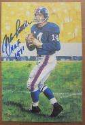 YA Tittle Giants signed Goal Line Art Postcard PSA/DNA auto HOF 1971 inscription