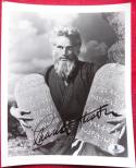 Charlton Heston Ten Commandments signed 8x10 B&W photo BAS Beckett Authentic