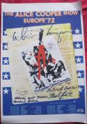 Alice Cooper & Band 4x signed 12x18 Reprint Concert Poster BAS Beckett Authentic
