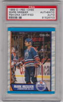 Mark Messier Oilers signed 1989 OPC Hockey card PSA/DNA Slabbed Autographed