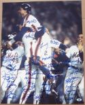 1986 Mets team signed 16x20 Photo 35 sigs Gary Carter WS Champs Beckett BAS Auth