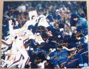 1986 Mets team signed 16x20 Photo 34 Autos in Orange Gary Carter Beckett BAS