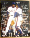 1986 Mets team signed 16x20 Photo 26 sigs Gary Carter WS Champs Beckett BAS Auth