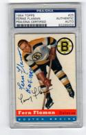 Fern Flaman signed 1954 Topps Hockey Card #25 PSA/DNA Slabbed auto d 12