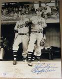 Johnny Sain signed 11x14 photo with Warren Spahn Pray for Rain inscrip PSA/DNA