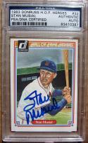 Stan Musial signed 1983 Donrus Hall of Fame Heroes baseball card PSA/DNA Slabbed